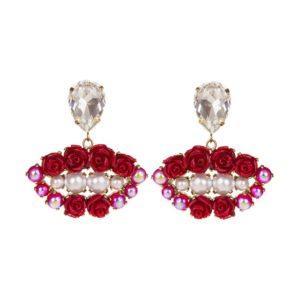 Boucles Red Blossom Lips -Bijoux de Famille