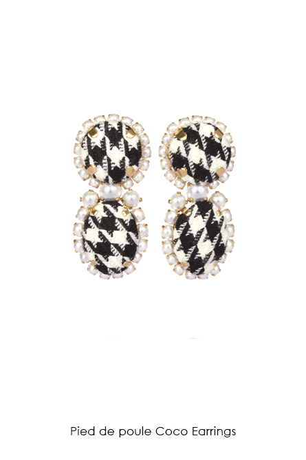 Pied de poule Coco Earrings-SS18 Collection-Bijoux de Famille