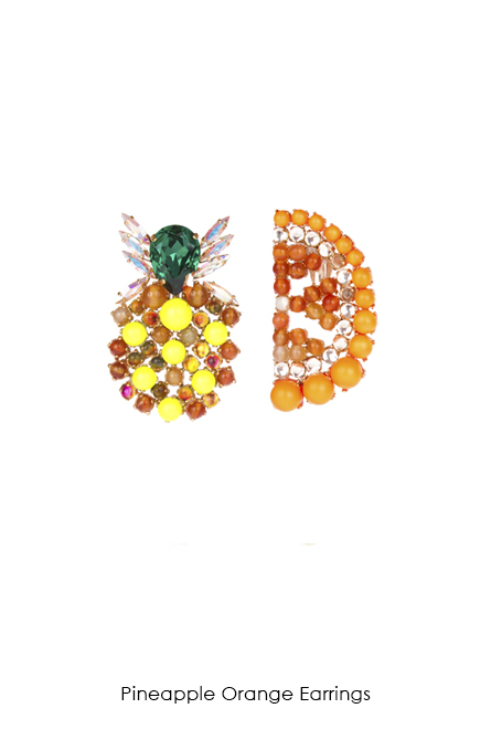 Pineapple Orange Earrings-SS18 Collection-Bijoux de Famille