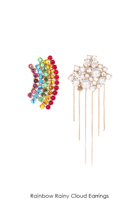 Rainbow Rainy Cloud Earrings-SS18 Collection-bijoux de famille
