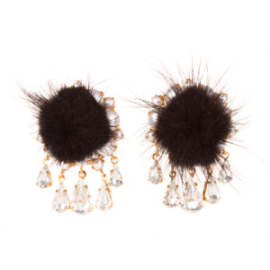 Fluffy black earrings