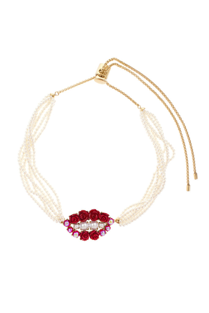 Collier Choker Perles Red Blossom Lips