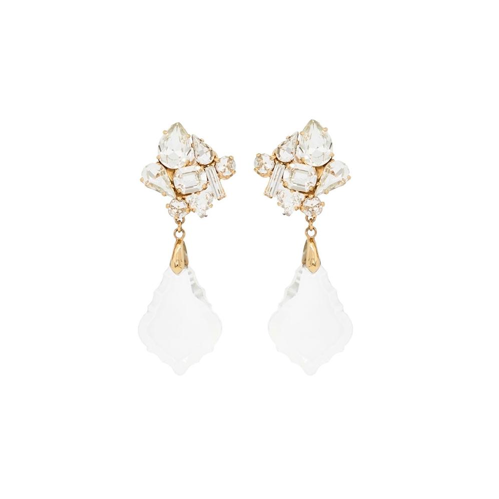 White Disco Chandelier Earrings