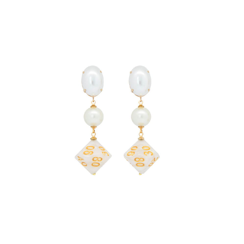 White Pearl Vegas Earrings